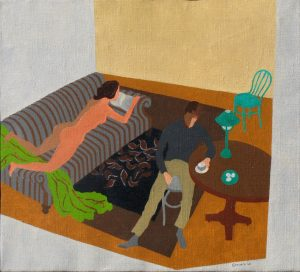 Painting of nude on a couch and man in a chair by Leonard Gerwick