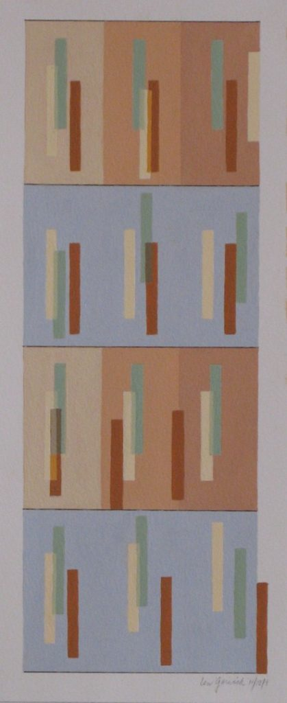 Four horizontal rows of rectangles in patterns by New England artist, Leonard Gerwick