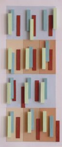 Four horizontal rows of 3D paper rectangles in designs. In a shadow box, under glass, 18X9 inches by Leonard Gerwick