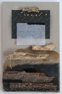 Horizontal assemblage of layers of wood and paper with nails and string on raw linen canvas, 26X24 inches by Leonard Gerwick