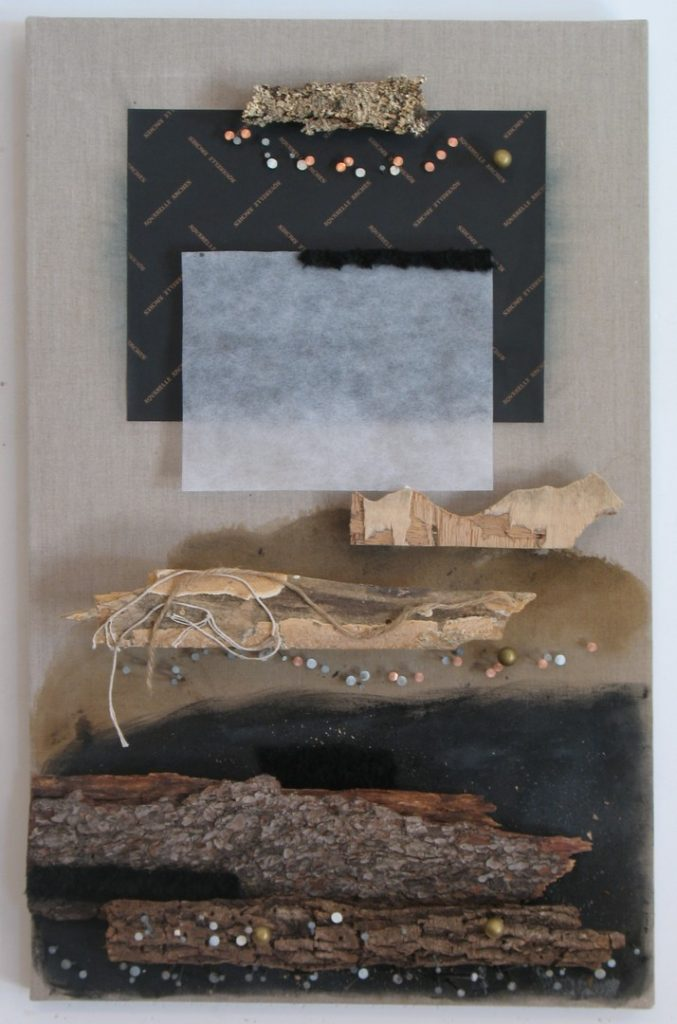 Horizontal assemblage of layers of wood and paper with nails and string on raw linen canvas by Leonard Gerwick
