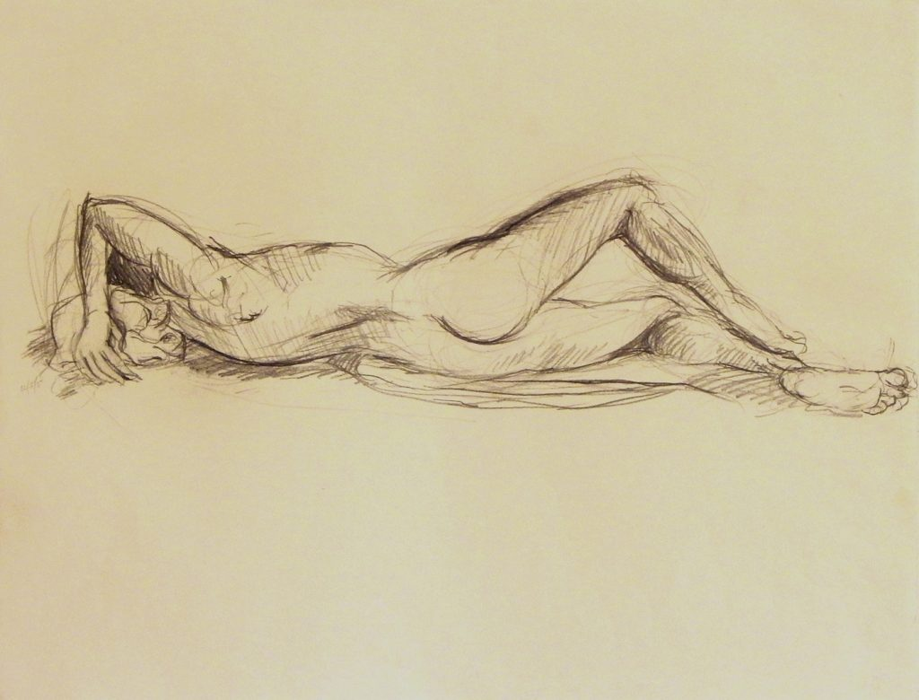 "Life drawing of nude model used in a number of ""By the River"" paintings"