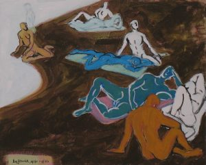 Painting of nudes by a New England river by Leonard Gerwick