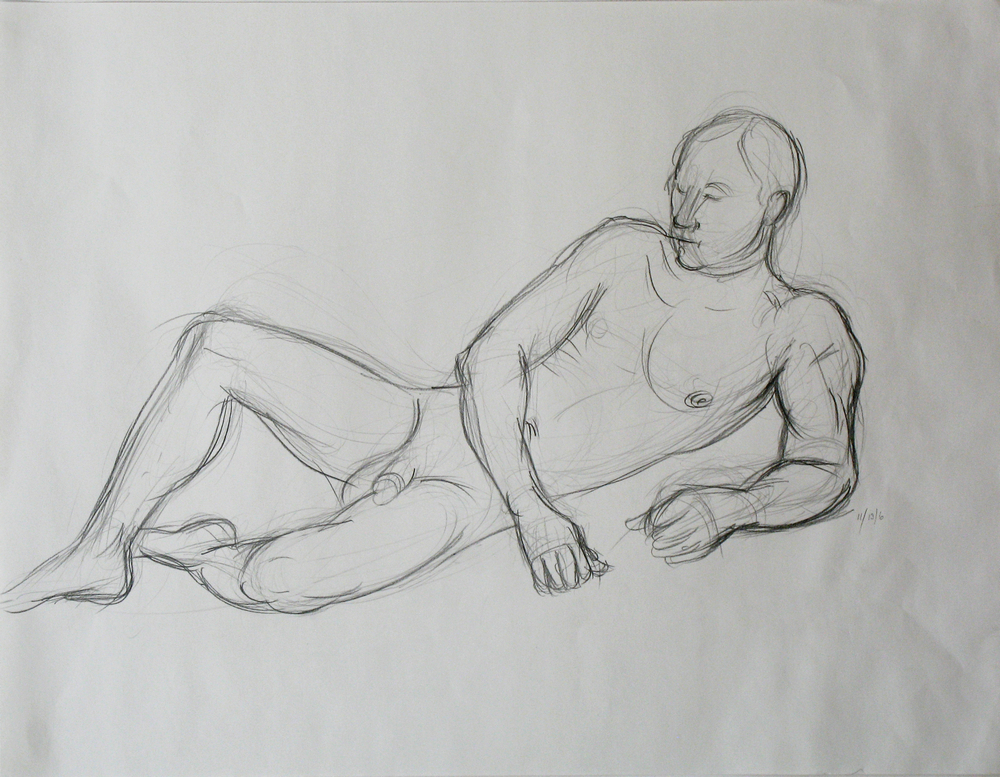 "Life drawing of a resting nude man used in painting ""Reclining Man with Elm Bark"" by new England artist, Leonard Gerwick"