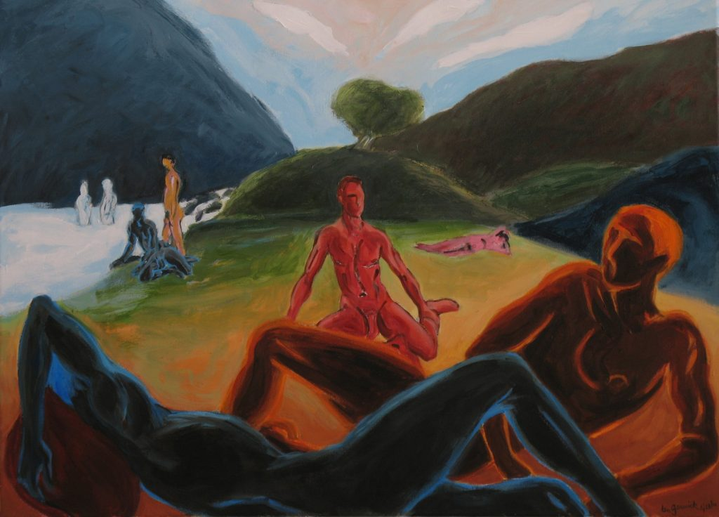 Colorful nude figures by a river beach, acrylic painting, 24X32 inches by Leonard Gerwick
