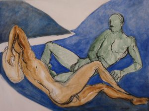 Two nude male figures in a blue landscape