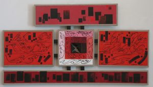 Acrylic on five linen canvases held by a black wood structure, 21X40 inches by Leonard Gerwick