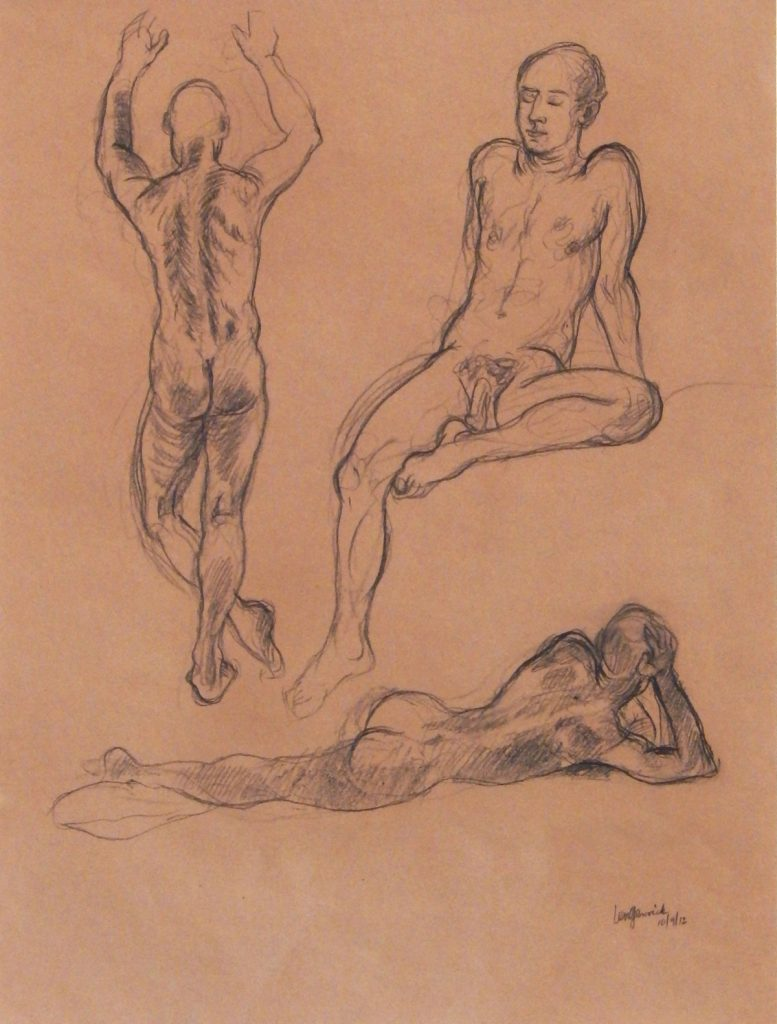 "Life drawings of a male model used in painting ""The Cove"""