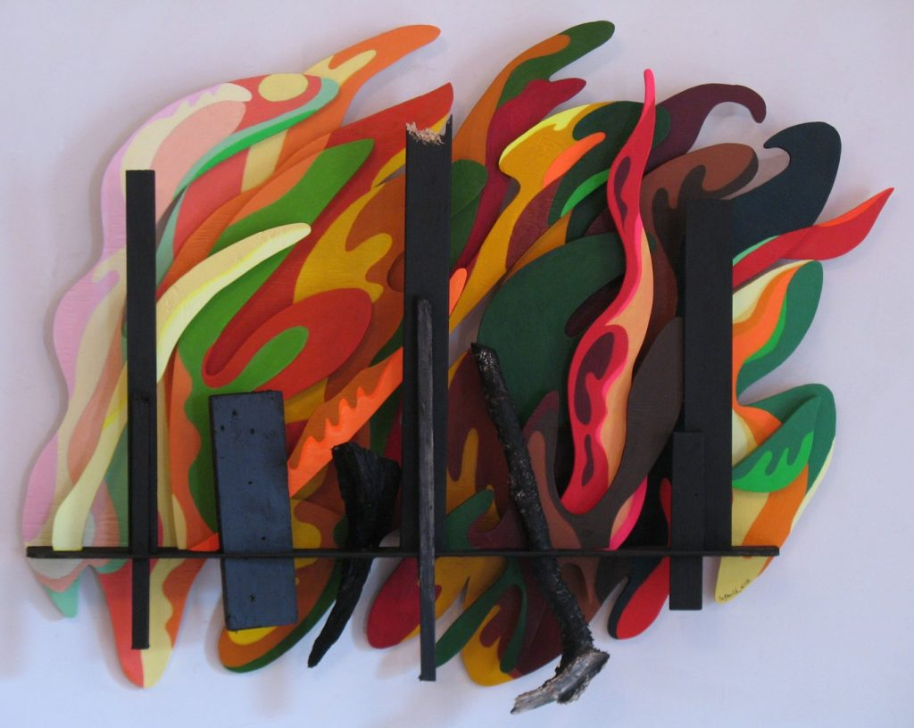 Wood forms painted with acrylic march before bright colored forms by Leonard Gerwick