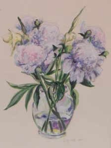 Avrylic on paper of flowers in a clear glass vase, 13X9 inches by Leonard Gerwick