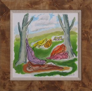 Groups of nude figures in a park like setting of trees. Acrylic painting in a wood frame, 18X15 inches by Leonard Gerwick