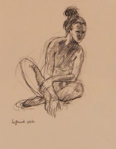 Nude with criss crossed legs leaning to side, Charcoal drawing on paper, 12X9 inches by Leonard Gerwick