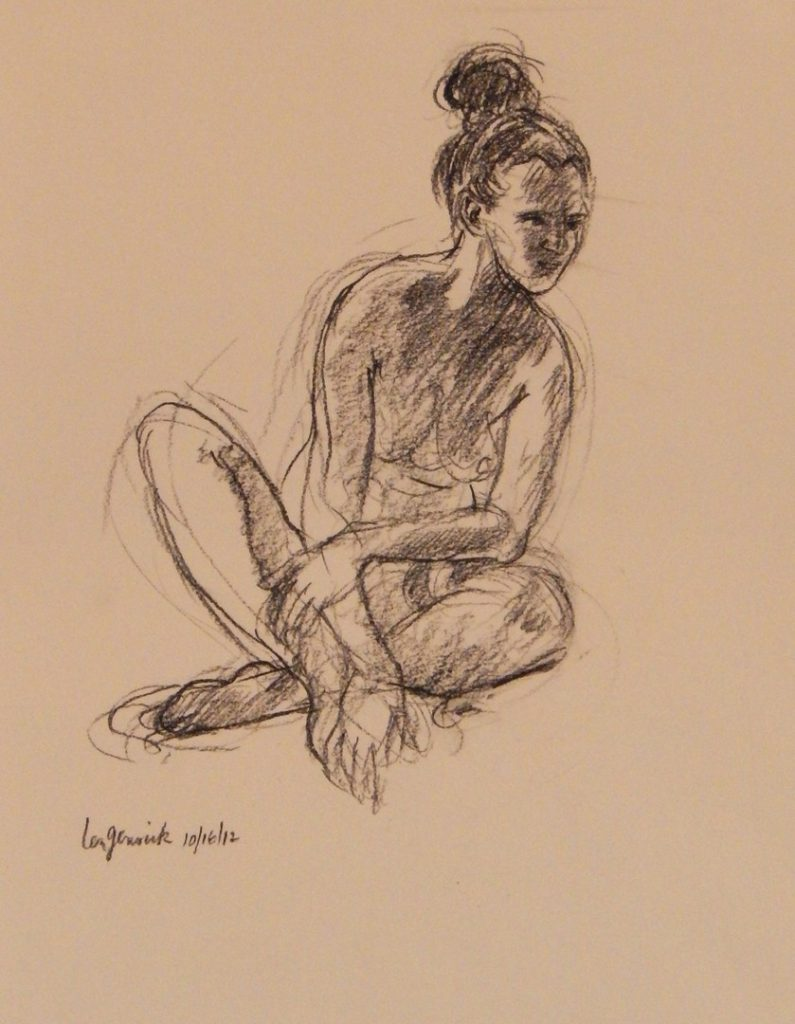 "Charcoal drawing of Nude model used for Echo in ""Echo and Narcissus"" painting by new England artist, Leonard Gerwick by Leonard Gerwick"