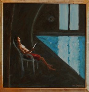 Framed acrylic painting of a lifeguard sitting with his laptop by a dark swimming pool by Leonard Gerwick
