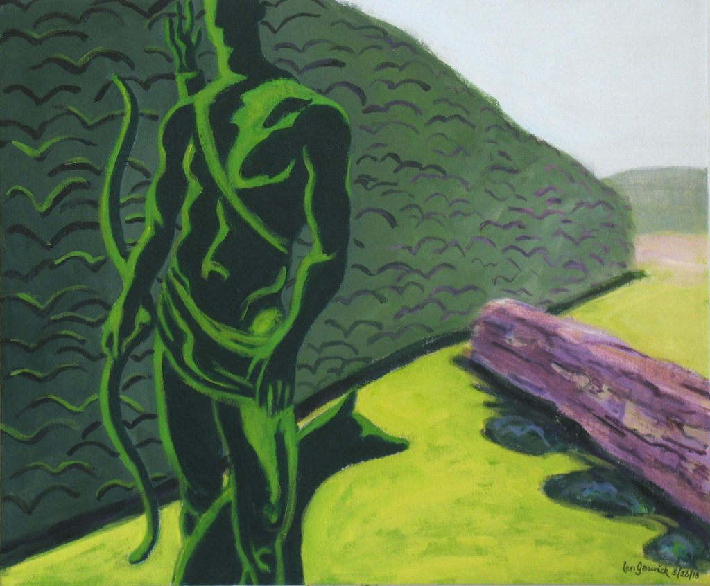 Acrylic painting of a garden statue with hedge and field in the distance, 20X24 inches by Leonard Gerwick