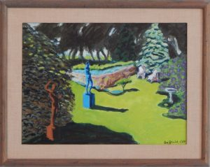 S\framed acrylic painting of statues and shrubbery in a sunny yard, 16x20 inches by Leonard Gerwick
