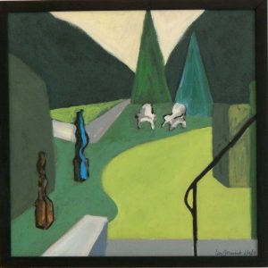Acrylic painting of shubbery and trees in geometric forms. 17X17 inches by Leonard Gerwick