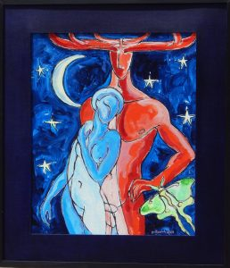 Framed acrylic painting of figures from A Midsummer Night's Dream in red and blue, 29X25 inches by Leonard Gerwick