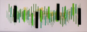 Green rectangles of different thickness in numbers of 4, 8, 16, 32 and 64, paper collage in a shadow box under glass, 13X38 inches by Leonard Gerwick
