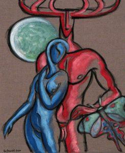 Shakespeare's charcters in red and blue against the moon