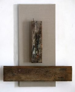Old factory wood hung on linen canvas, 40X25 inches by Leonard Gerwick