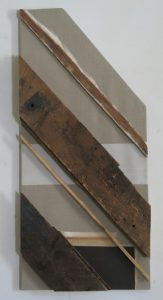 Old wood and acrylic shapes on raw linen canvas, 48X22 inches by Leonard Gerwick