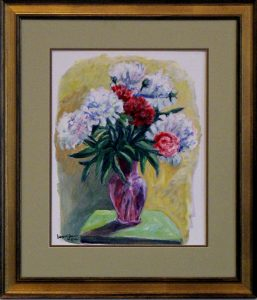 Framed and matted acrylic painting of white and red flowers in a purple vase, 23X17 inches by Leonard Gerwick