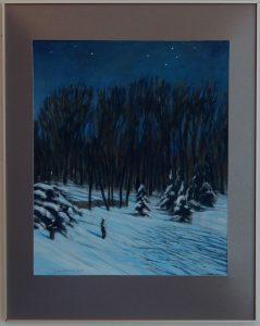 Acrylic painting of bright moonlight on snow and tress, 32X25 inches by Leonard Gerwick