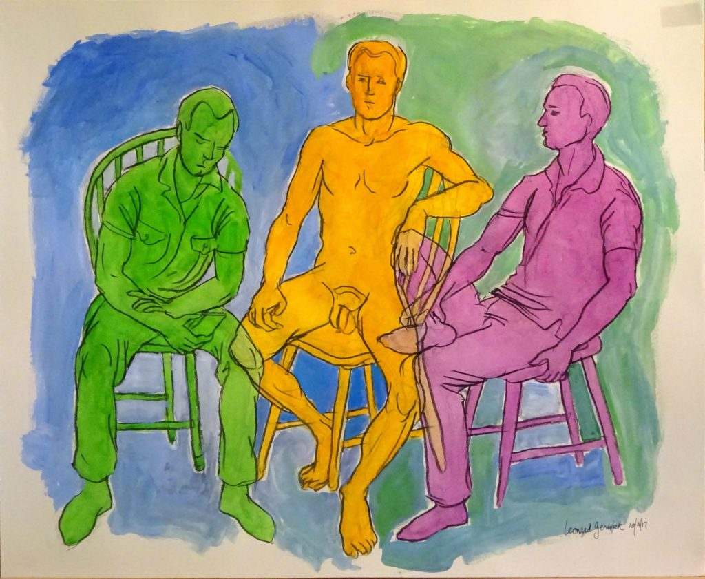 "Draing with bright colors of third arrangement for painting ""Four Men"" by artist, Leonard Gerwixk"