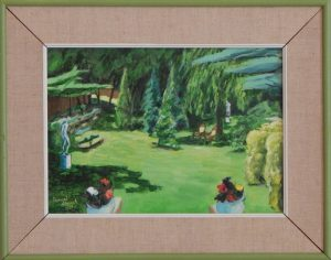 Matted and framed acrylic painting of a lawn and trees on a sunny day, 15X19 by Leonard Gerwick