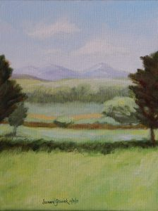 Acrylic painting of fields and trees, mountains and sky, 9X12 inches by Leonard Gerwick