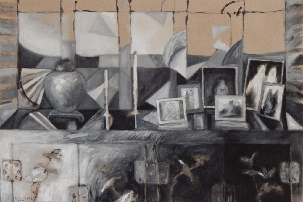 Acrylic painting of black and white objects along top of laquered cabinet, 22X33 inches by Leonard Gerwick