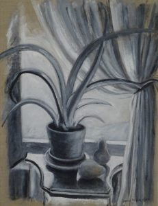 Acrylic painting of a plant and two pears by window with a curtain, 24X18 inches by Leonard Gerwick