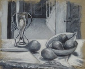 Acrylic monochrome painting of fruit on a table with a vase and hallway, 14X18 inches by Leonard Gerwick
