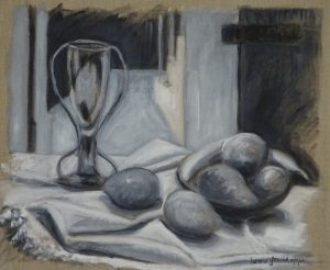 Acrylic monochrome painting of a still life with hallway, 14X18 inches by Leonard Gerwick