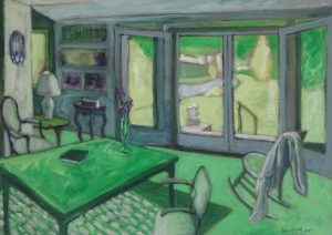 Acrylic painting of a room with furniture and open doors to garden, 21X29 inches by Leonard Gerwick