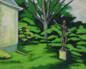 Avrylic painting of a house, garden statue and shrurbery,13X17 inches by Leonard Gerwick