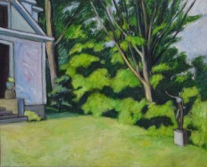 House with green trees and lawn,Acrylic painting 16X22 inches by Leonard Gerwick, New England artist