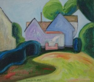 Acrylic painting of colorful house at end of shady lawn with bushes and trees, 14X16 inches by Leonard Gerwick