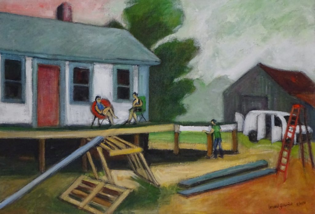 Acrylic painting of an old house with carpenter building and people sitting by, 16X24 inches by Leonard Gerwick