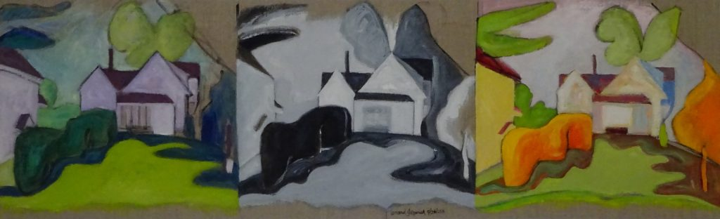 Acrylic painting of a house and bacyard repeated in different colors, 13X41 inches by Leonard Gerwick