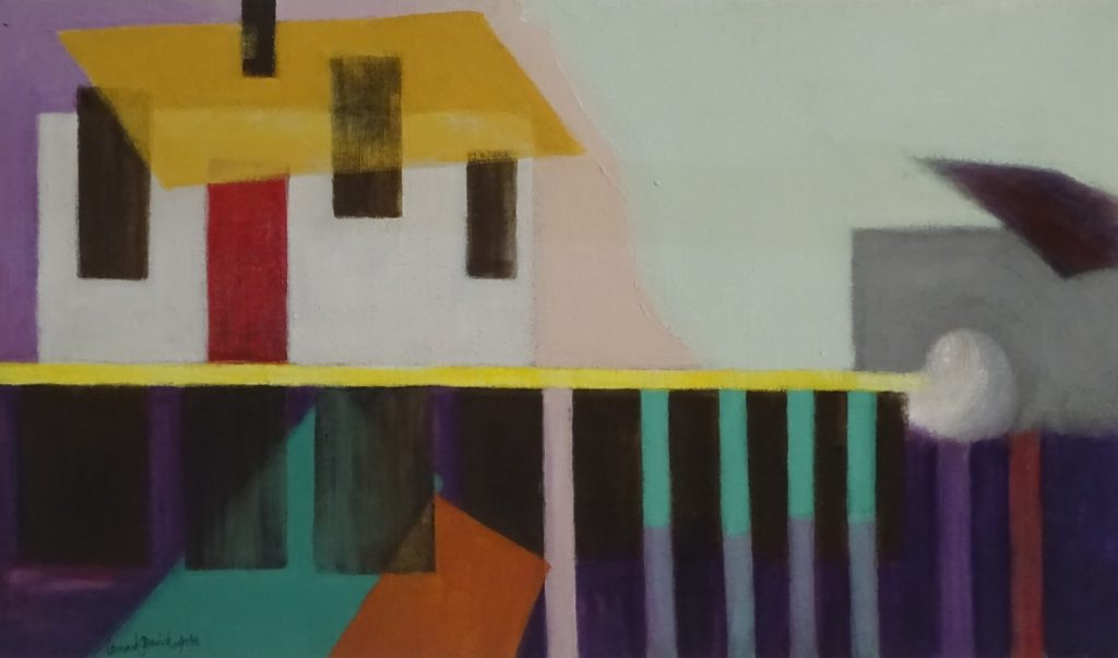 House abstracted into colorful geometric shapes, acrylic painting, 15X25 inches by New England artist, Leonard Gerwick