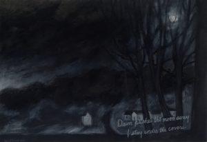 Black landscape at the break of dawn