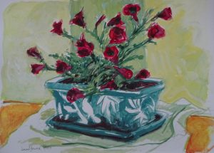 Acrylic painting of red flowers in a blue ceramic planter, 11X14 inches by new England artist, Leonard Gerwick