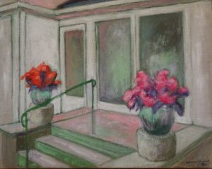 Acrylic paining of two flower pots on either side of granite stairway, 15X19 inches by New England artist,Leonard Gerwick