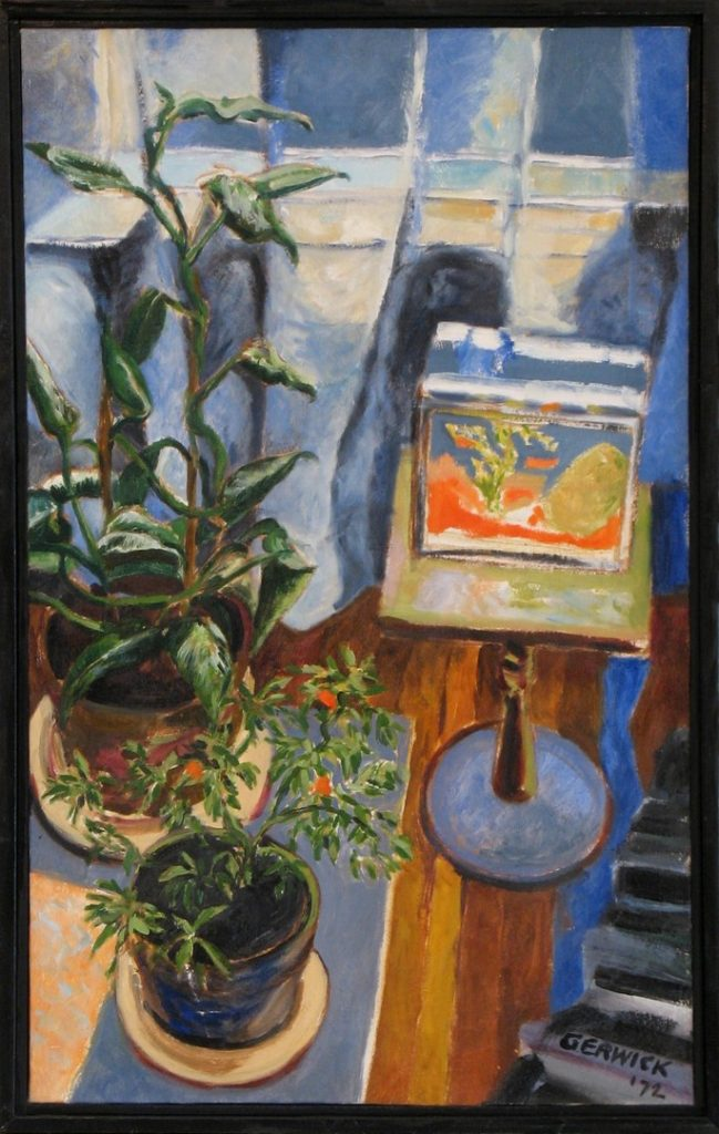 Oil painting of a colorful arrangement of furniture on a wood floor, 30X18 inches by Leonard Gerwick