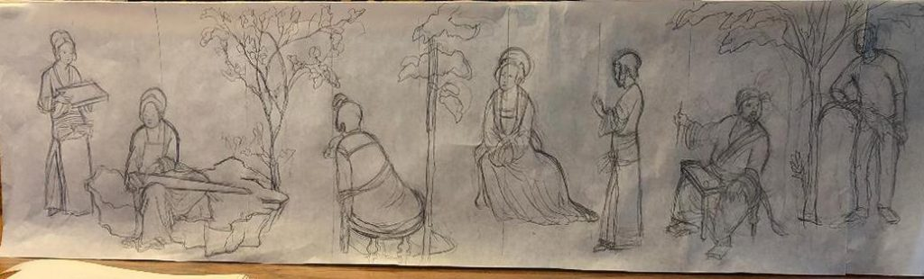 Drawing after Chinese scroll painting by New England artist, Leonard Gerwick