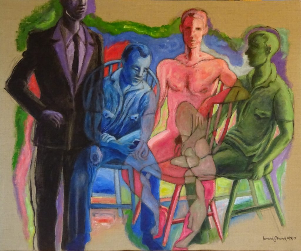 One nude figure, the others cllothed in a colorful arrangement