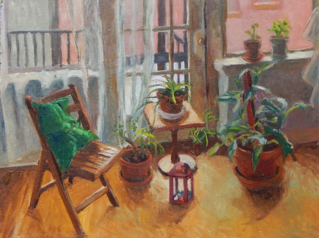 Oil painting of chairs and tables with plants by windows, 12X16 inches by Leonard Gerwick