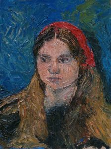 Oil painting portrait of young girl done with palette knife, 16X12 inches by Leonard Gerwick